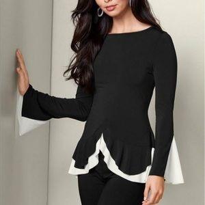 NWT Venus black top blouse with beige trim s large